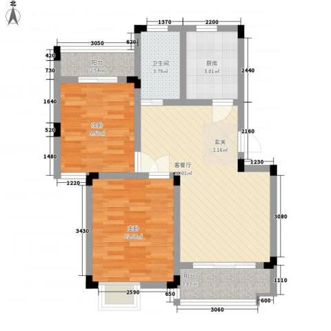 鹅湖一号2室1厅1卫1厨85.00㎡户型图