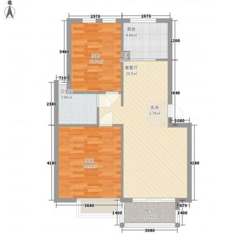 瑶海新村2室1厅1卫1厨78.00㎡户型图