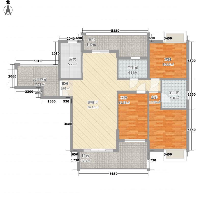 东辰壹号峰景14.17㎡E3户型3室2厅2卫1厨