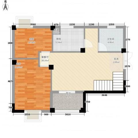 瑶海家园2室1厅1卫1厨89.00㎡户型图