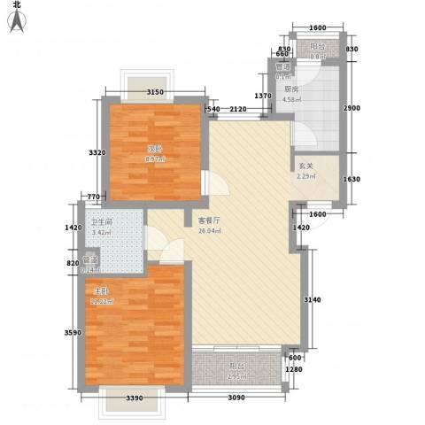 新梅共和城2室1厅1卫1厨86.00㎡户型图