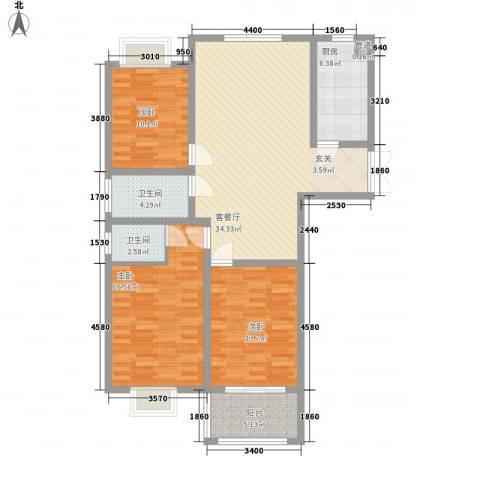 华厦水木阳光3室1厅2卫1厨129.00㎡户型图