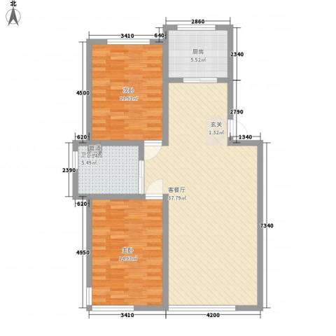 好景山庄2室1厅1卫1厨100.00㎡户型图