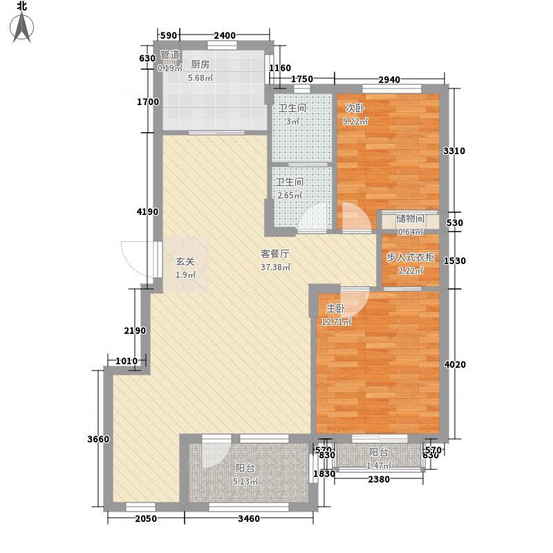 春田15.00㎡馥园B2区2号楼D户型2室2厅1卫1厨