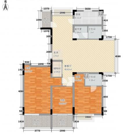 云水山庄3室1厅2卫1厨179.00㎡户型图