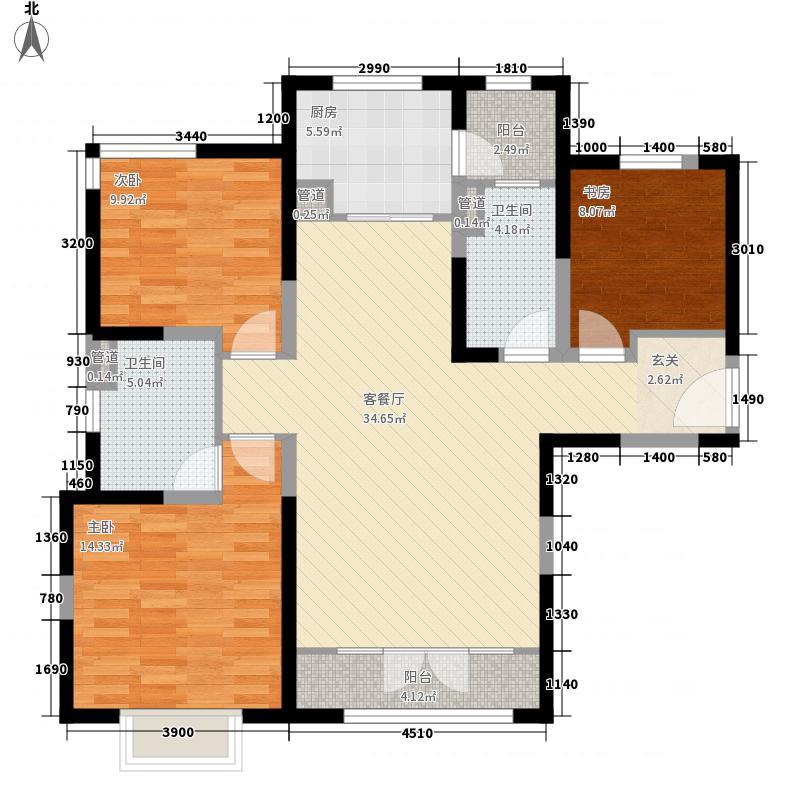 新梅江锦秀里3室1厅2卫1厨128.00㎡户型图