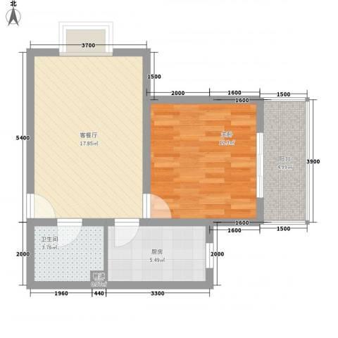 旧商业城1室1厅1卫1厨64.00㎡户型图