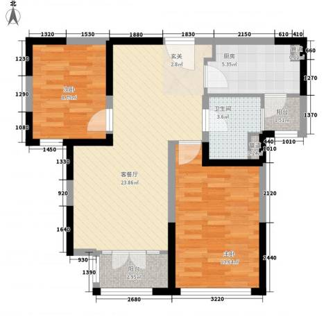 新梅江锦秀里2室1厅1卫1厨87.00㎡户型图