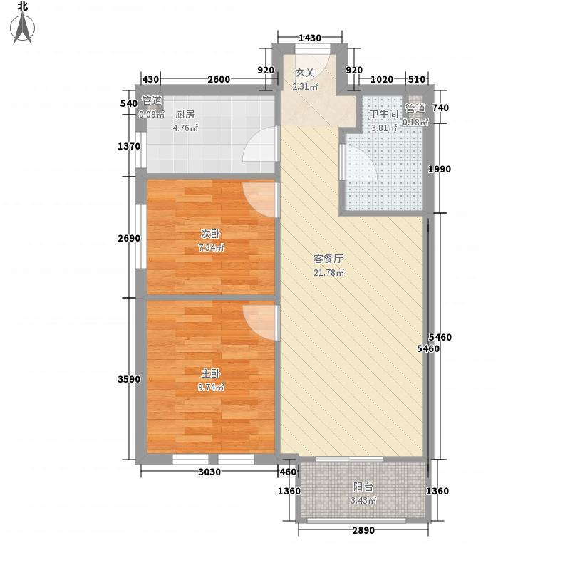 金海蓝湾72.00㎡21号楼D户型2室1厅1卫1厨