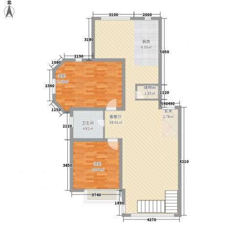 优诗美地2室1厅1卫0厨116.00㎡户型图