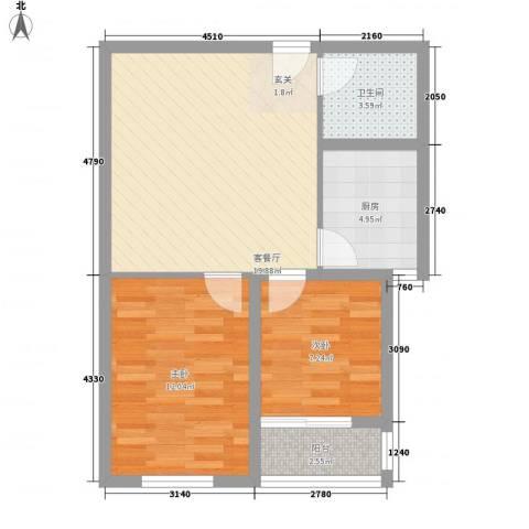 润福家园2室1厅1卫1厨72.00㎡户型图