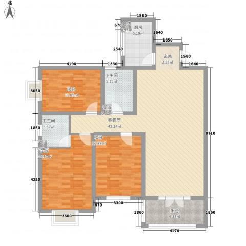 府西国际公寓3室1厅2卫1厨117.00㎡户型图