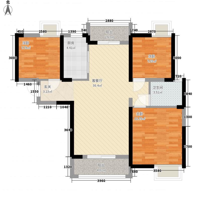 中国铁建梧桐苑14.12㎡17号楼17-3户型3室2厅1卫1厨
