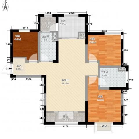 新梅江锦秀里3室1厅2卫1厨115.00㎡户型图