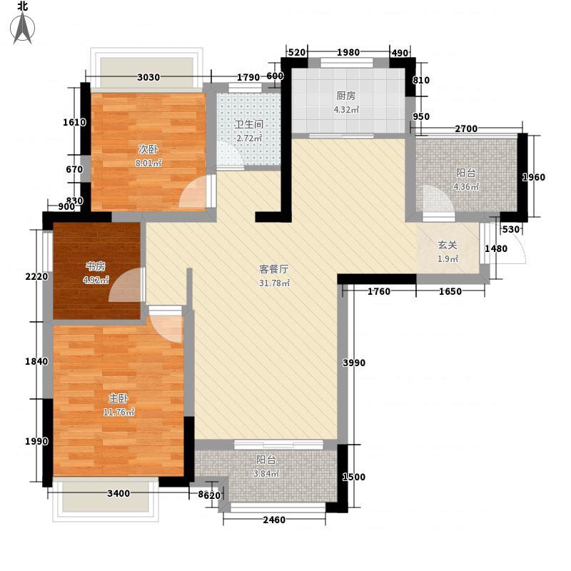 华润熙云府3室1厅1卫1厨104.00㎡户型图