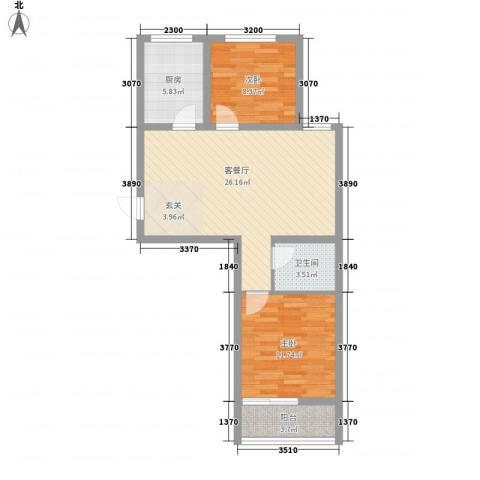 润福家园2室1厅1卫1厨85.00㎡户型图