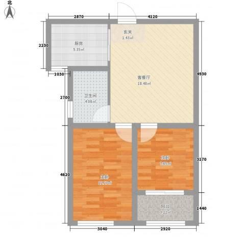 润福家园2室1厅1卫1厨74.00㎡户型图