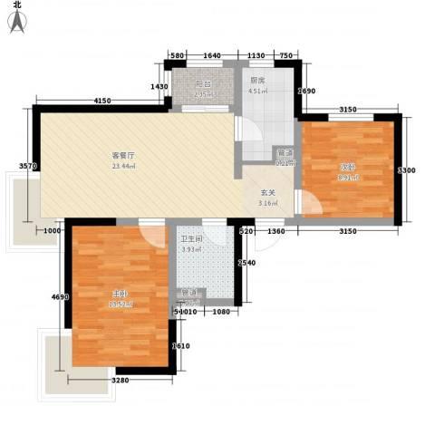 新梅江锦秀里2室1厅1卫1厨83.00㎡户型图