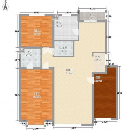 怡众名城3室1厅2卫1厨151.00㎡户型图