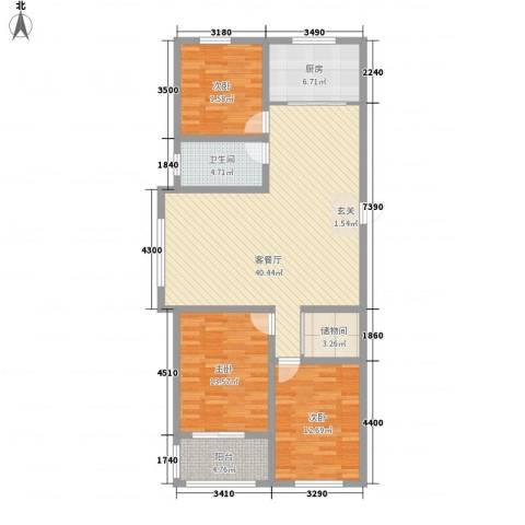 润福家园3室1厅1卫1厨136.00㎡户型图