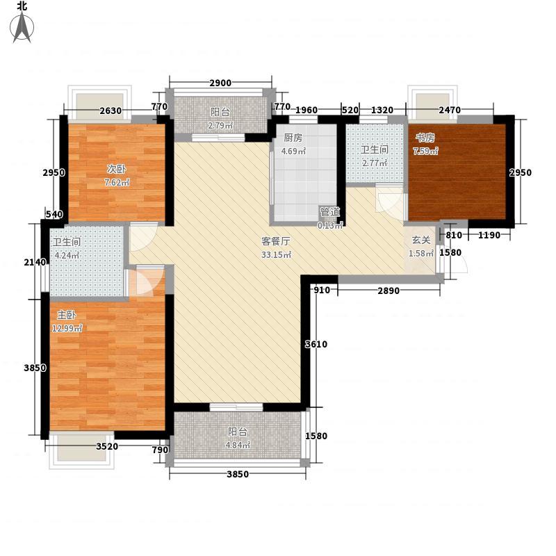 中国铁建梧桐苑3室1厅2卫1厨114.00㎡户型图
