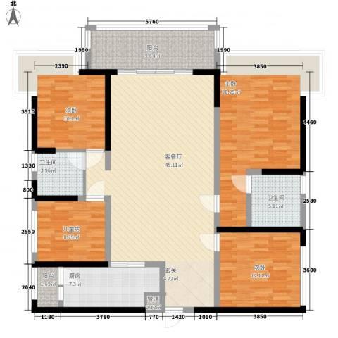 天峦湖4室1厅2卫1厨174.00㎡户型图