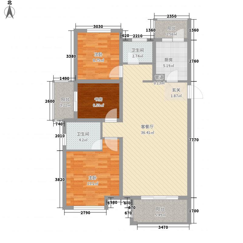 东方小镇3室1厅2卫1厨126.00㎡户型图