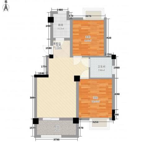 澳海胥江湾2室1厅1卫1厨77.00㎡户型图