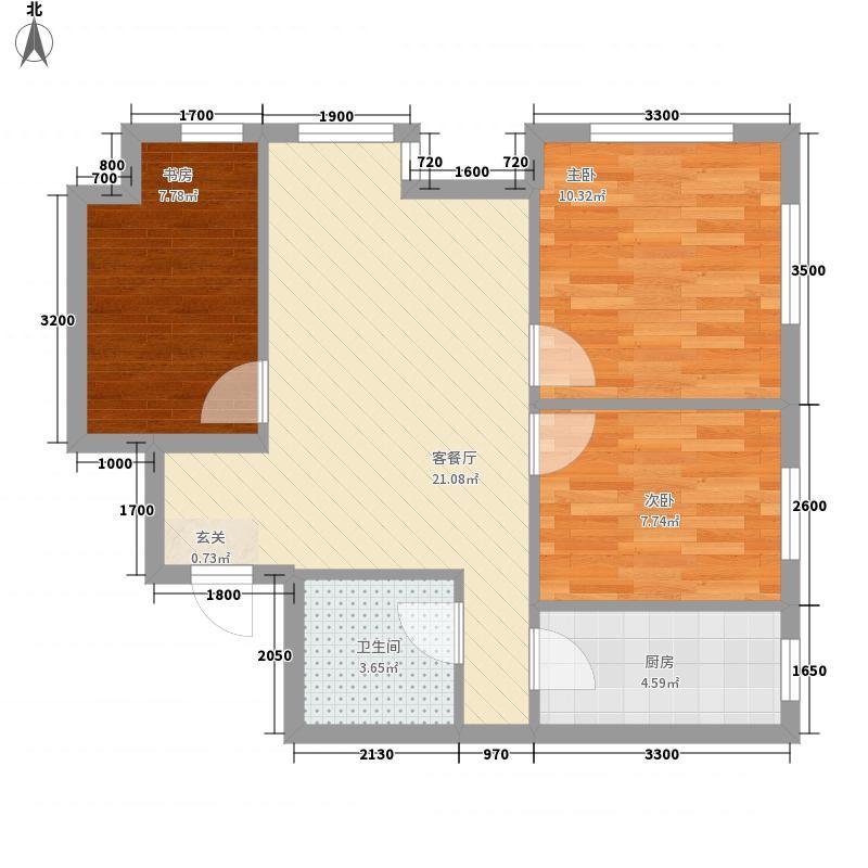 唐城壹号82.23㎡一期A楼、B楼G户型3室2厅1卫1厨