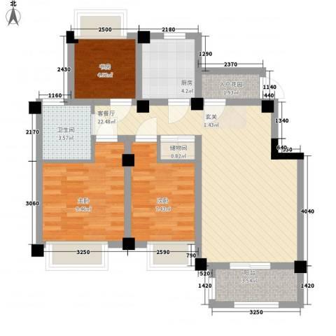 澳海胥江湾3室1厅1卫1厨88.00㎡户型图