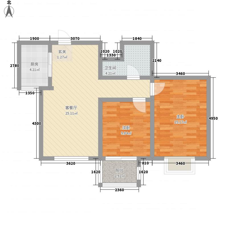 香悦澜溪8.42㎡F-B户型2室2厅1卫1厨