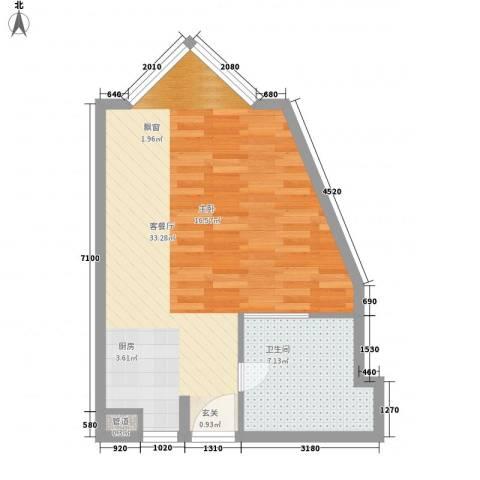 静安紫苑1厅1卫0厨57.00㎡户型图
