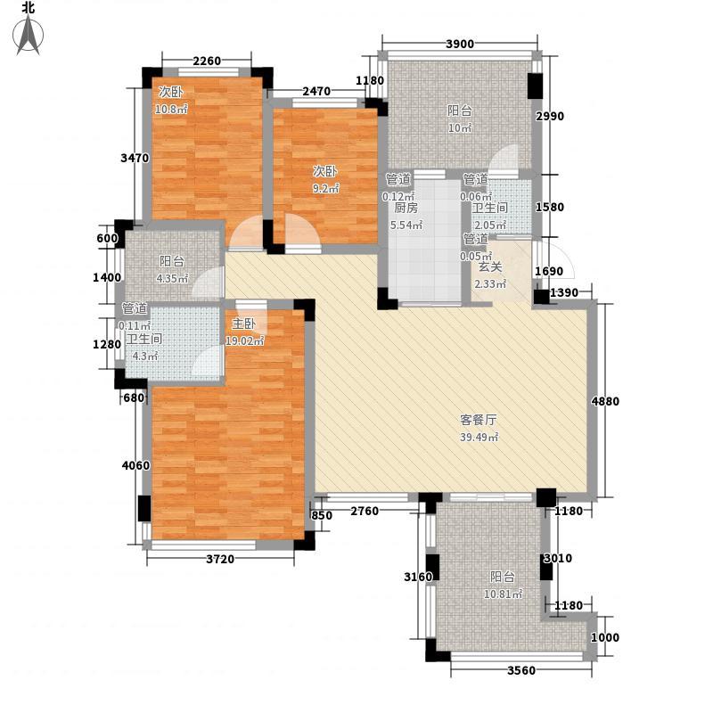 天山水榭花都3室1厅2卫1厨165.00㎡户型图