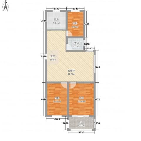 润福家园3室1厅1卫1厨114.00㎡户型图