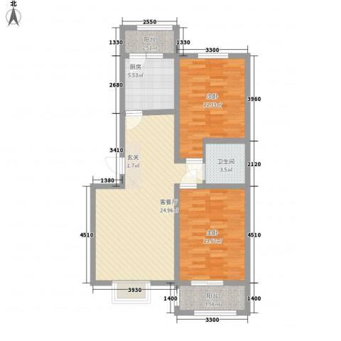 晟禾时代2室1厅1卫1厨95.00㎡户型图