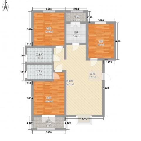 晟禾时代3室1厅2卫1厨125.00㎡户型图