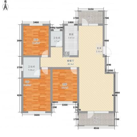 藁城理想城3室1厅2卫1厨132.00㎡户型图