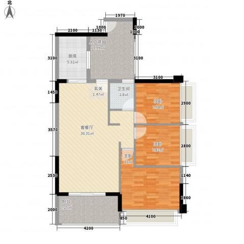 侨城水岸3室1厅1卫1厨83.53㎡户型图