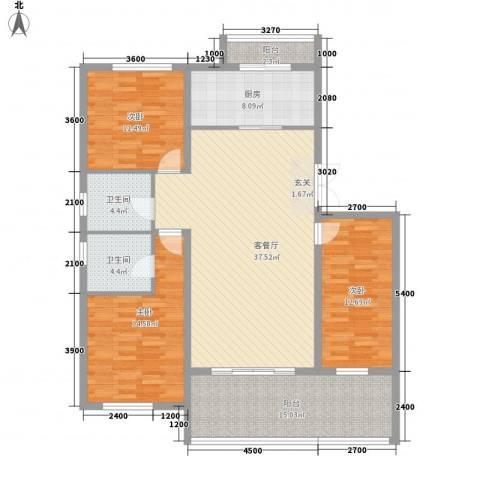 帝景传说山邸3室1厅2卫1厨131.00㎡户型图