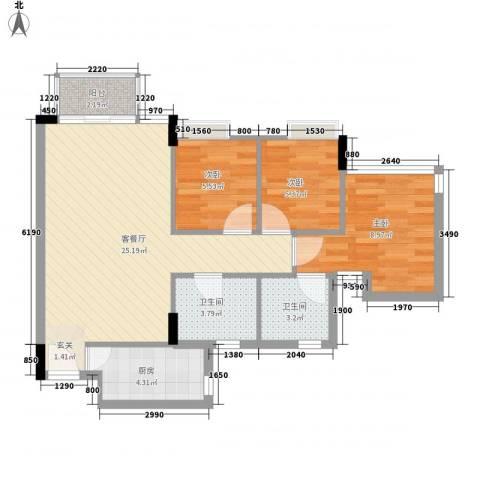 御景花园3室1厅2卫1厨66.44㎡户型图