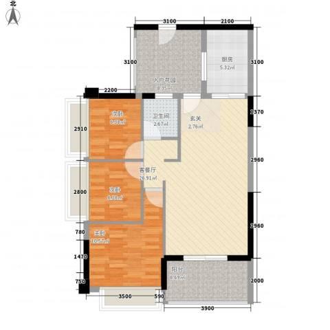侨城水岸3室1厅1卫1厨104.00㎡户型图