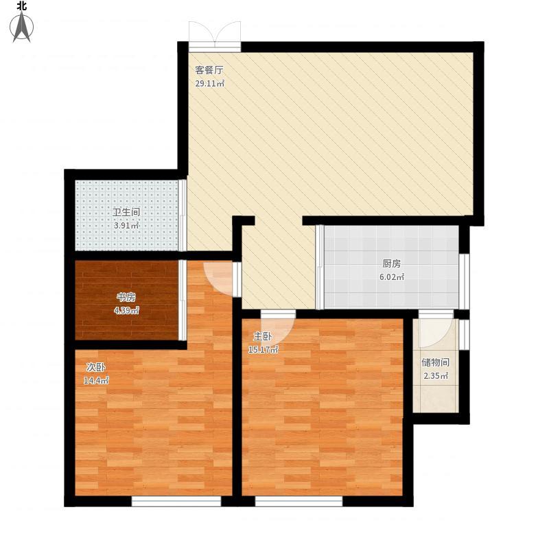 翡翠园89.55平米两室两厅一卫
