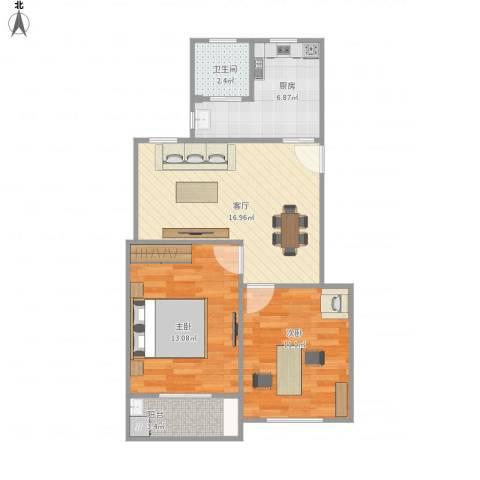 罗南二村2室1厅1卫1厨73.00㎡户型图