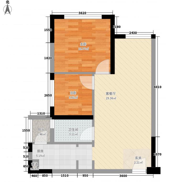 蓝光中央广场2室1厅1卫0厨62.00㎡户型图