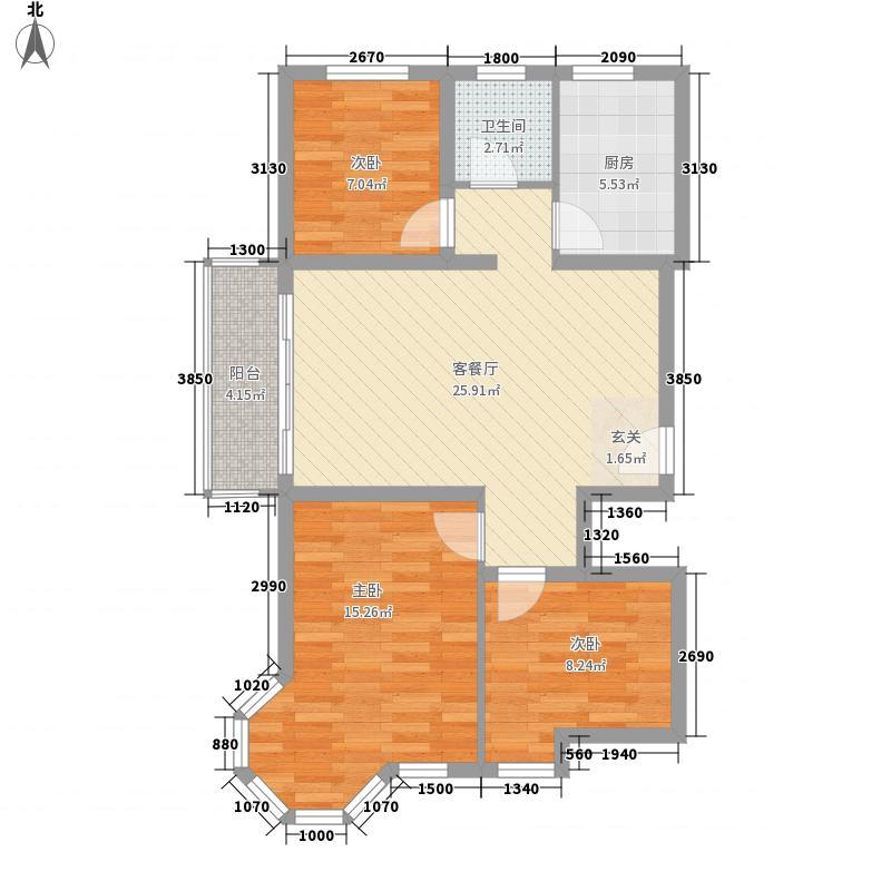 欧康曼哈顿国际名都8.33㎡一期14号楼高层G1户型3室2厅1卫1厨