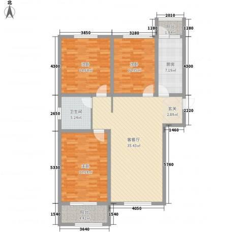 胜芳世纪花园3室1厅1卫1厨98.39㎡户型图