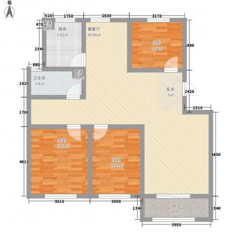 胶北玫瑰花园3室1厅1卫1厨126.00㎡户型图