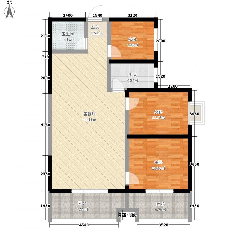 中天花园3室1厅1卫1厨141.00㎡户型图