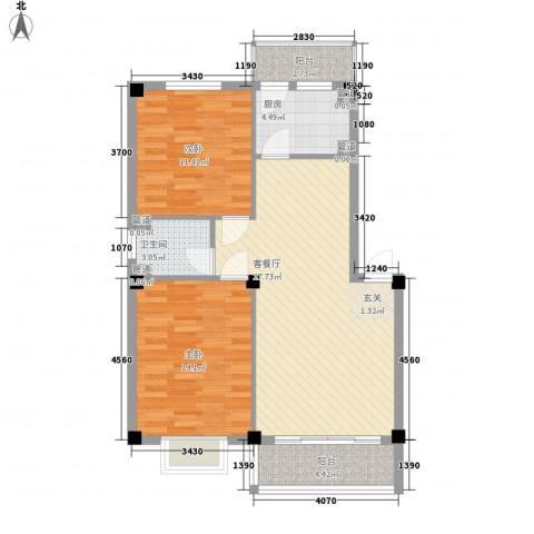 保利海棠花园二期2室1厅1卫1厨96.00㎡户型图