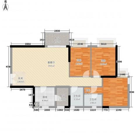 聚雅苑3室1厅2卫1厨116.00㎡户型图